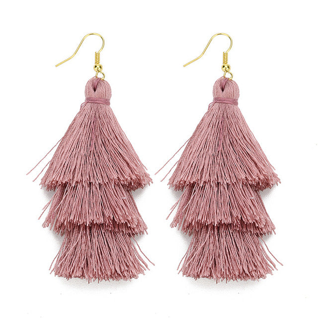 Layered Bohemian Fringed Dusty Rose Tassel Earrings