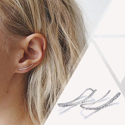 GenuineSterling Silver Hook Climber Earrings