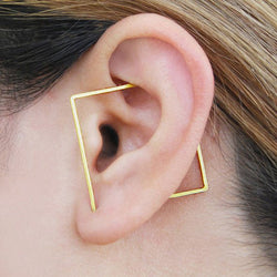14k Gold Ear Cuff Square Earrings
