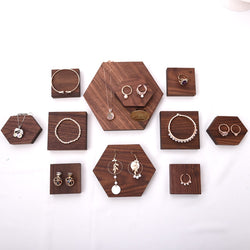 Dark Walnut Wood Jewelry Display Blocks
