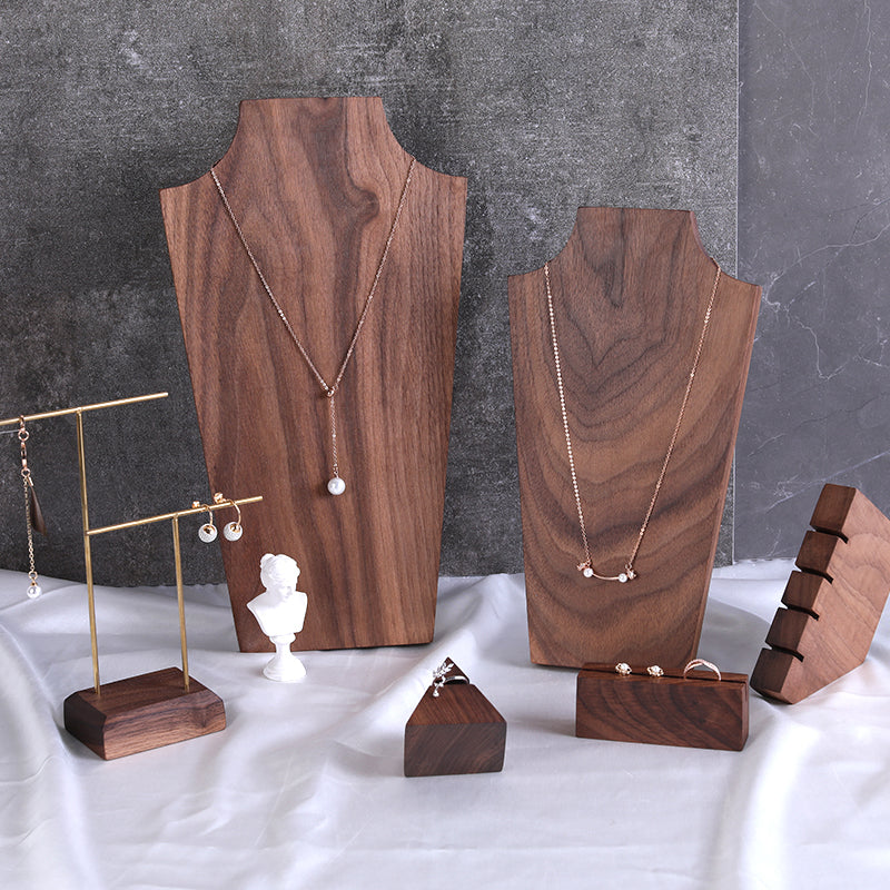 Dark Walnut Pendant Necklace Display Holder and Earrings & Ring Display Stand