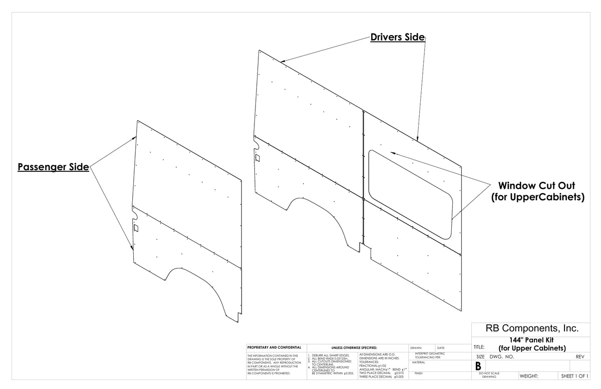 "2007 + Sprinter Van Wall Liner Kit, 144"" High Roof, Plywood (for upper cabinets)"