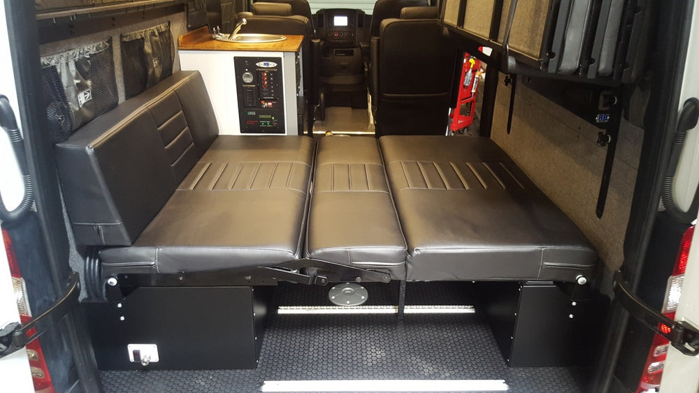 "58"" Rear Dinette/Bed Setup w/Under Sofa Storage Boxes for 07+ Sprinter Vans"