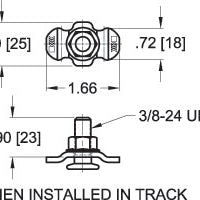 L Track Fitting Threaded Stud Fitting