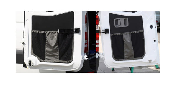 2007-2018 / Sprinter Van Rear Door Lower Stuff Bag Kit -  w/Black Aluminum Panels