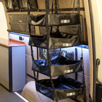 "2007+ Sprinter Van Fabric - 75""H Adjustable Hanging Shelf System - 4 Shelves"