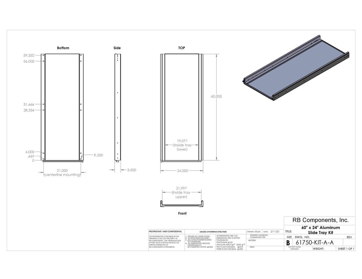 "60""x 24"" Aluminum Slide Tray Kit"