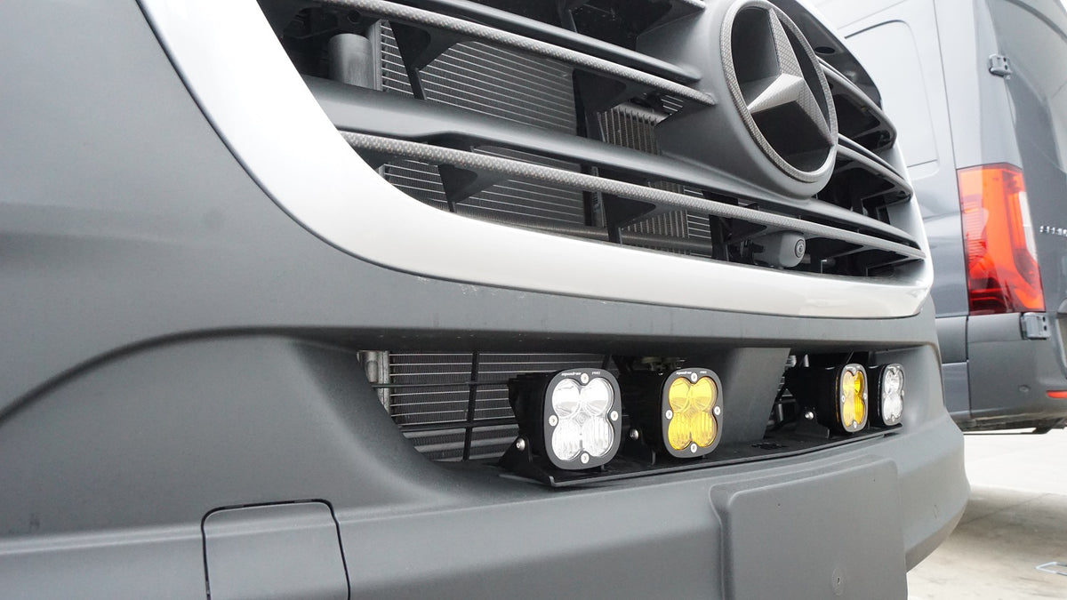 2019+ Sprinter Van Front Light Bracket - 2 Baja Designs Squadron White Lights & 2 Baja Designs Squadron Amber Lights Kit