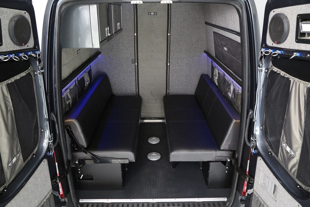 "76"" Rear Dinette/Bed Setup for 07+ Sprinter Vans - Grey Cloth"