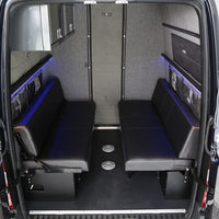 "76"" Rear Dinette/Bed Setup w/Under Sofa Storage Boxes for 07+ Sprinter Vans"