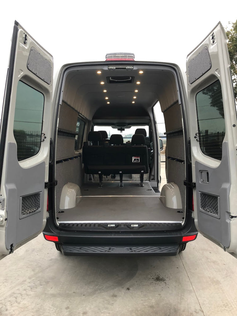 07+Sprinter Van Rear Door Upper Panels, Tweed Wrapped Plywood