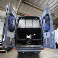 "2007+ Sprinter Van Fabric - Rear Door Fabric Partition With 18"" Center- 36"" of Floor Height"