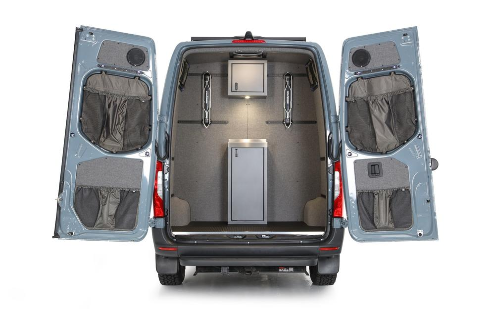 2019+ Sprinter Van Rear Door Lower Stuff Bag Kit - w/Graphite Upholstered Panels