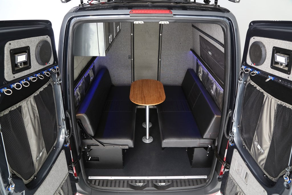 76 Quot Rear Dinette Bed Setup W Under Sofa Storage Boxes For 07 Sprinter Rb Components