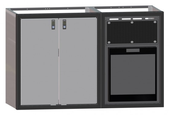"56"" Galley, No Counter Top, Cabinet, w/ Norcold Refrigerator and Cabinet"