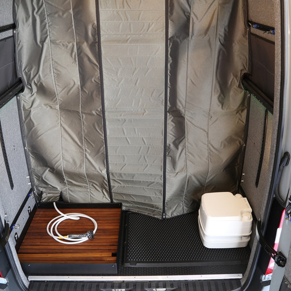 07+ Sprinter Van Fabric Partition w/ Shower Flap