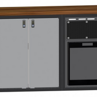 "56"" Galley, Wooden Counter Top, w/ Norcold Refrigerator and Cabinet."