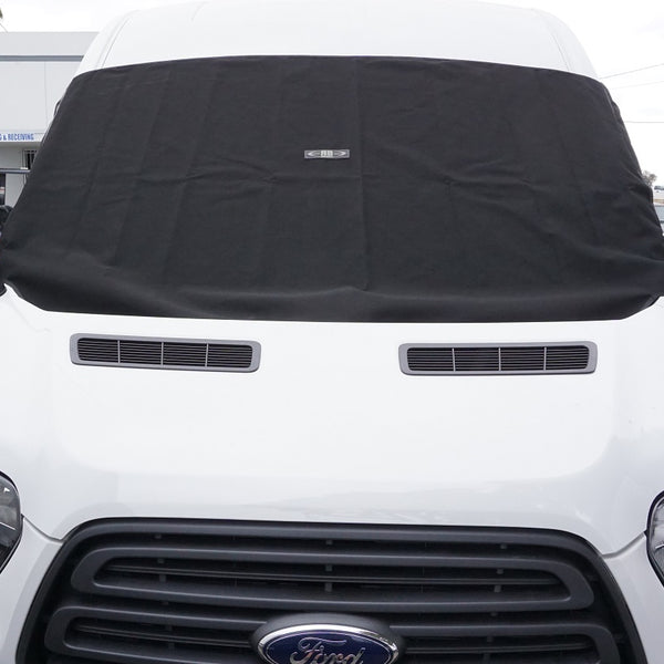 2014+ Ford Transit Exterior Front Window Shade Kit w/Integeral Side Window Bug Screens