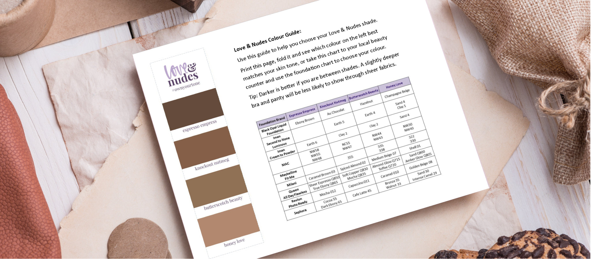 printable makeup chart to help choose your bra colour