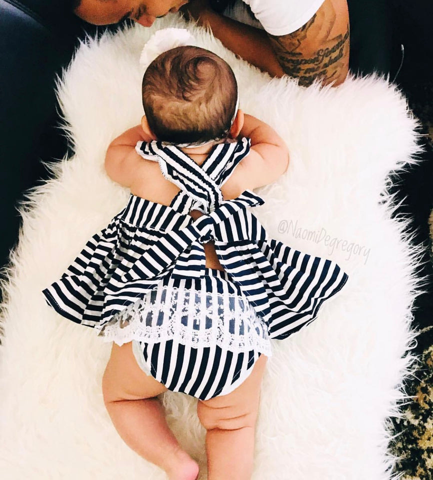 Crossover Striped Princess Dress - The Cutest Little Things