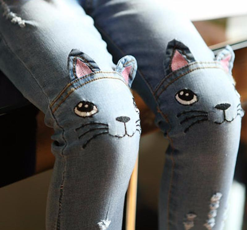 The Cutest Little Cat On Knee Trousers - The Cutest Little Things