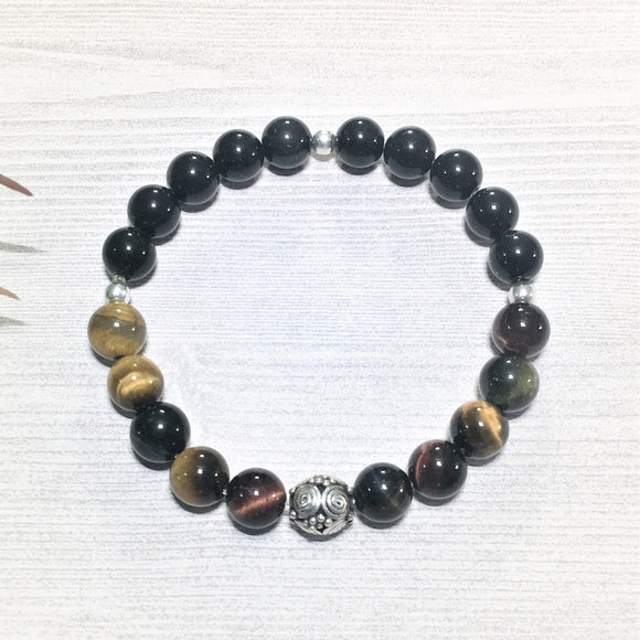 Tiger Eye Bracelet, with Onix and.925 Bali Silver