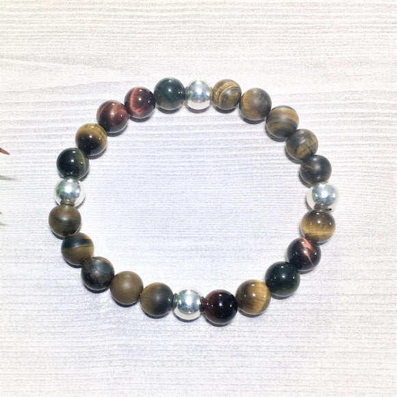 Matte Tiger Eye w/ Shiny .925 Sterling Silver Beads