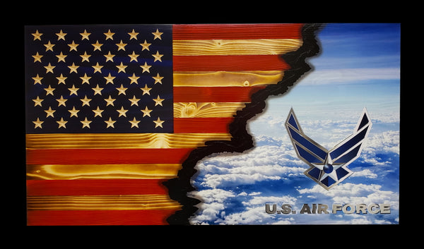 US Air Force Ripped in Color Flag
