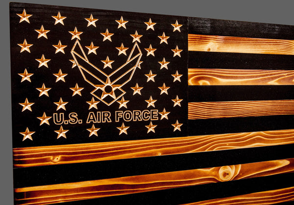 Air Force Subdued Rustic Wood Flag