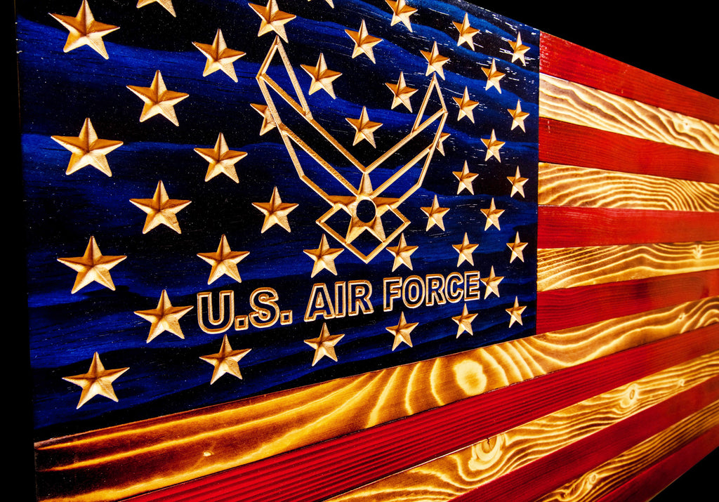 Air Force Traditional Rustic Wood Flag