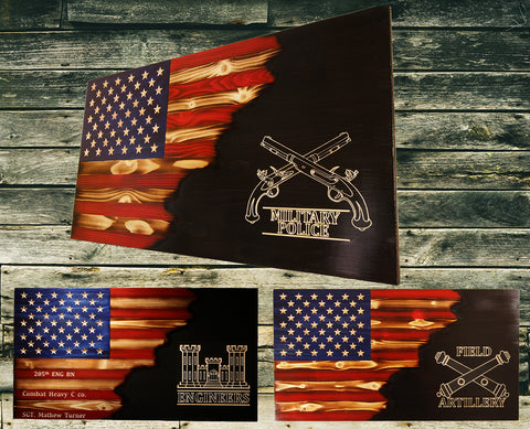Rustic Wooden Flags Add Custom Engraved Script Or Logos That Flag