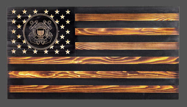 Coast Guard Subdued Rustic Wood Flag