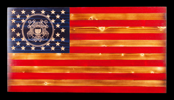 Coast Guard Traditional Rustic Wood Flag