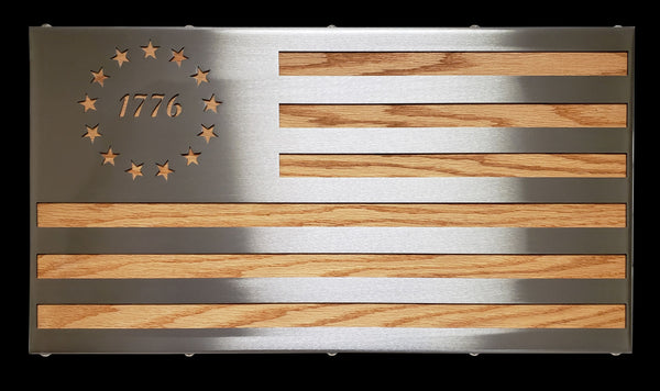 Metal and Oak Betsy Ross 1776 Flag - American Steel Series