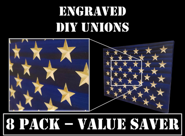 8 Pack of Engraved Unions for DIY Flag Builders