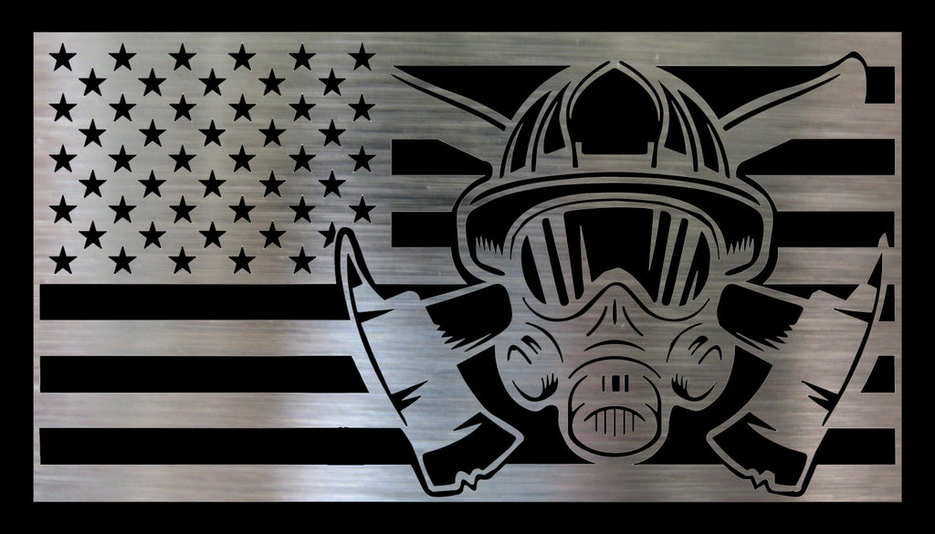 Metal DIY American Flag - Firefighter