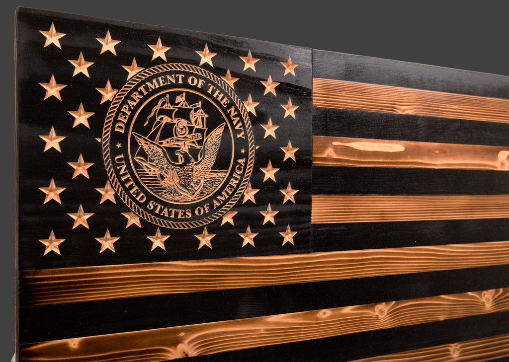 US Navy Subdued Rustic Wood Flag
