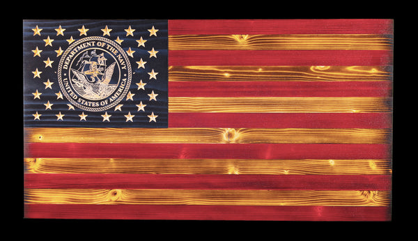 US Navy Traditional Rustic Wood Flag