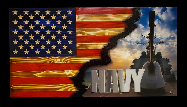 US Navy Ripped in Color Flag