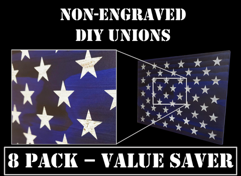 8 Pack of Non-Engraved Unions for DIY Flag Builders