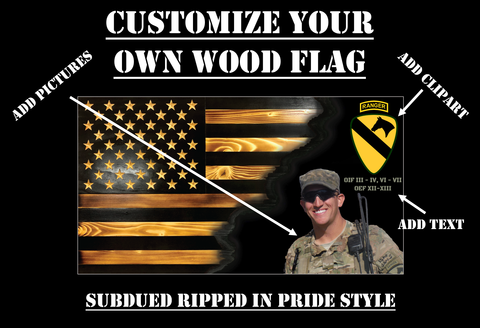 Customize Your Own Ripped in Pride Rustic Wood Flag (Subdued)