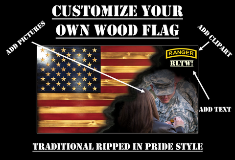 Customize Your Own Ripped in Pride Rustic Wood Flag (Traditional)