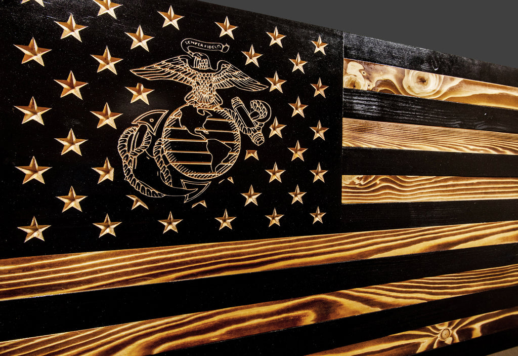 United States Marine Corps Subdued Rustic Wood Flag