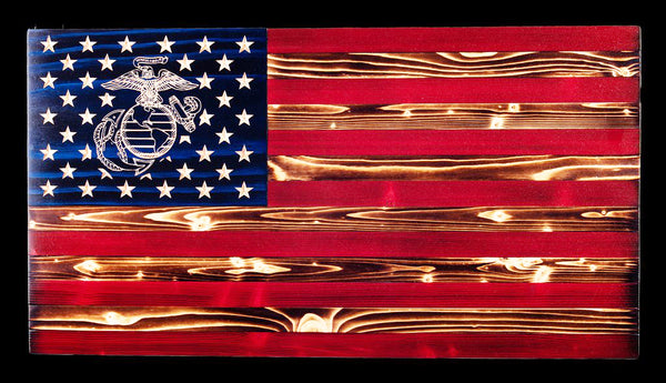 United States Marine Corps Traditional Rustic Wood Flag