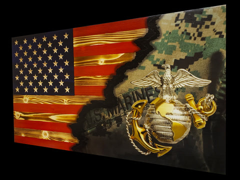 USMC Ripped in Color Flag