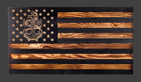 USN Anchor Subdued Rustic Wood Flag