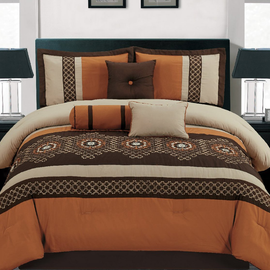 7 Pieces Luxury Embroidery Comforter Set Bed