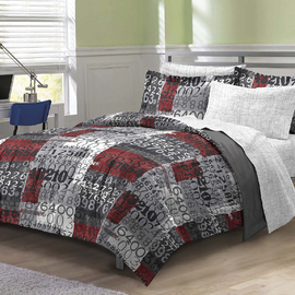 My Room Number Time Ultra Soft Microfiber Boys Comforter Set, Gray, Full