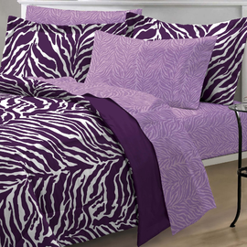 My Room Zebra Purple Ultra Soft Microfiber Comforter Sheet Set