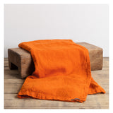 Luxury Linen Throw- Tangerine